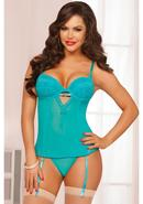 Teal Appeal Bustier And Thong-teal-l