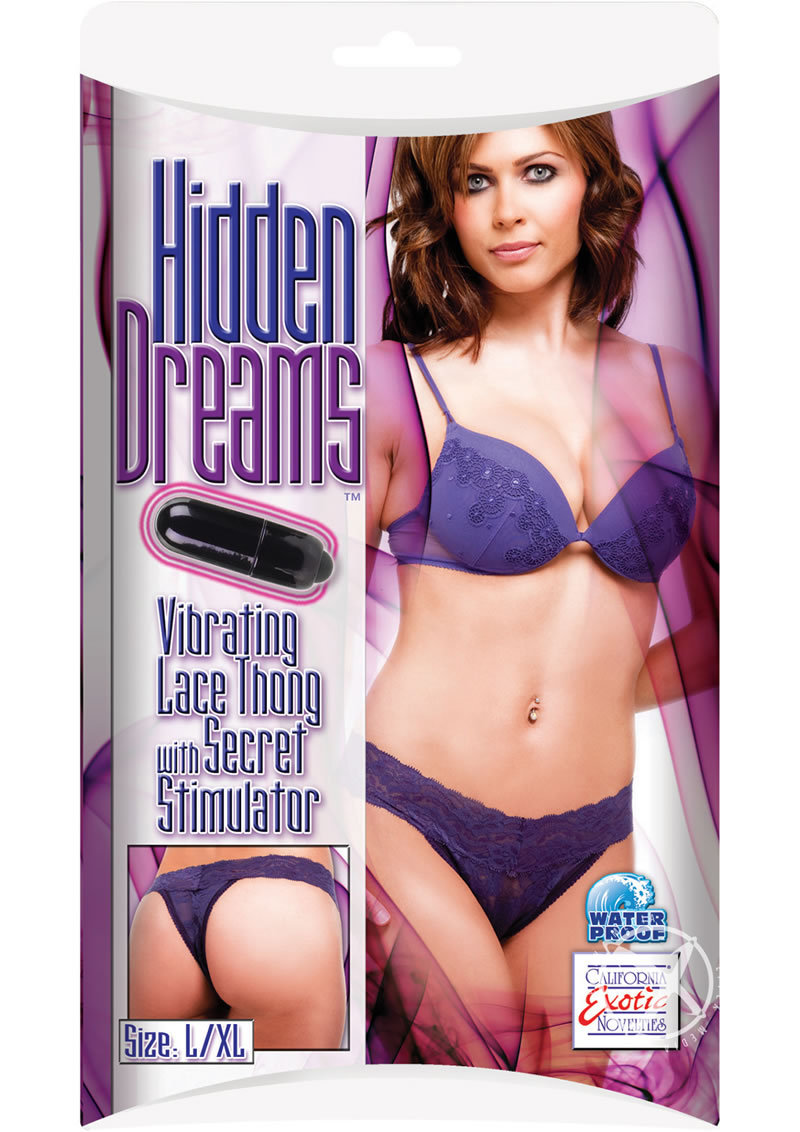 Hidden Dreams Vibrating Lace Thong With Secret Stimulator Purple